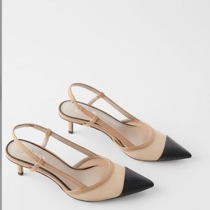Zara Colorblock Slingback Kitten Heel